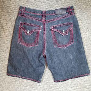 PJ Mark (faded) Raw Black & Red denim shorts 36